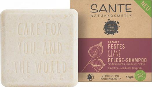 Family Питательный шампунь твердый для блеска волос с био-берёзой и растительными протеинами Sante
