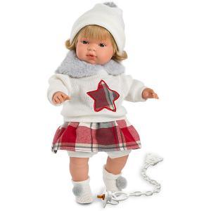 Кукла  Лола в бело-красном 38 см, со звуком Llorens. Цвет: разноцветный