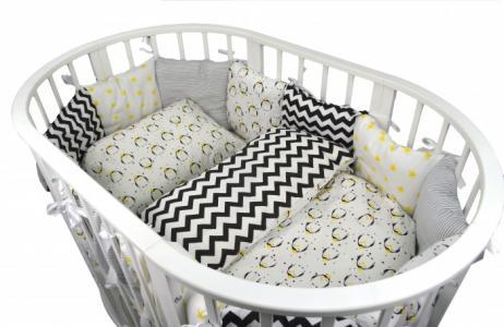 Комплект в кроватку  для овальной кроватки Funny Penguins (15 предметов) Forest