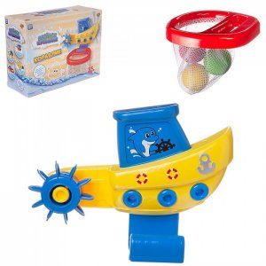 Игровой набор Веселое купание Кораблик с корзиной и 3 мячиками для водного баскетбола ABtoys