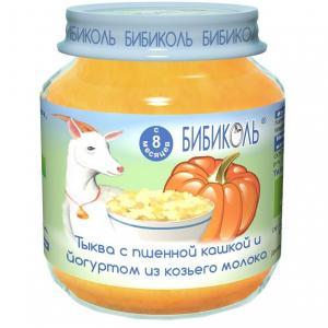 Пюре  тыква с пшенной кашей и йогурт из козьего молока 8 месяцев, 125 г Бибиколь