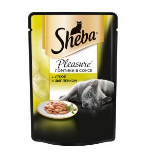 Влажный корм  для взрослых кошек, ломтики из утки и цыпленка в соусе, 85г Sheba