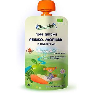 Пюре  яблоко-морковь-пастернак, с 6 мес, штук Fleur Alpine