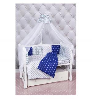 Комплект постельного белья  Бриз premium, цвет: белый/синий 18 предметов Amarobaby