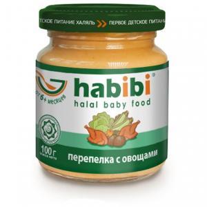 Пюре  перепелка с овощами 6 месяцев, 100 г Habibi