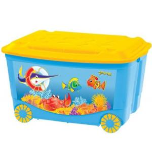 Ящик для игрушек  С аппликацией, цвет: голубой Бытпласт