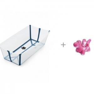 Ванночка Flexi Bath Макси Transparent и игрушка Веселые динозаврики Огонек Stokke