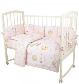 Комплект постельного белья  Кольца 18 предметов одеяло (140 х 110 см), цвет: розовый Bomani