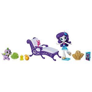 Игровой набор с мини-куклой Equestria Girls Пижамная вечеринка, Рарити Hasbro