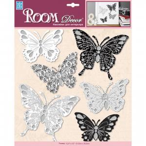 Наклейка Бабочки PSA 6701, , черно-белый Room Decor