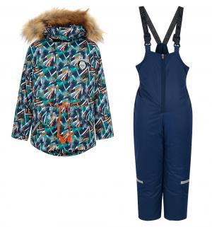 Комплект куртка/брюки  Драйв, цвет: синий/оранжевый Аврора