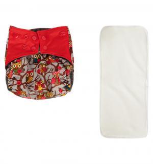 Подгузник  многоразовый Premium Fashion + вкладыш Красный/Совы (3-16 кг) 1 шт. Bamboola