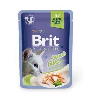 Влажный корм  Premium для взрослых кошек, форель, 85г Brit