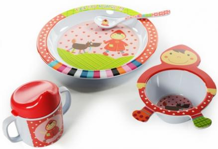Набор посуды 4 предмета Красная шапочка Ebulobo