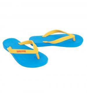 Шлепанцы , цвет: голубой/желтый Дюна