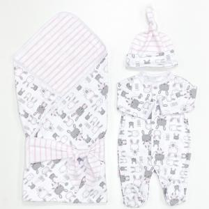 Комплект на выписку  летний (комбинезон, шапочка, плед, лента) Зайки-милашки СуперМаМкет