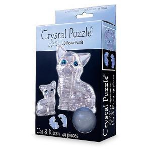Головоломка КОШКА  СЕРЕБРИСТАЯ Crystal Puzzle