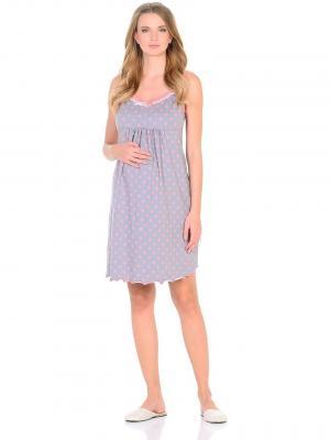 Сорочка  для беременных и кормящих, цвет: серый/коралловый Hunny Mammy