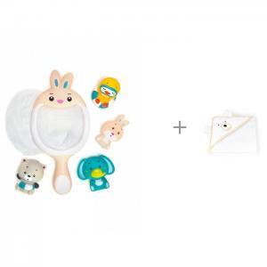 Игрушки для ванной Сачок-Зайчик и полотенце с капюшоном Косолапик 100х100 см Золотой Гусь ЯиГрушка