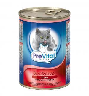 Влажный корм  для взрослых кошек, говядина/печень, 415г Prevital
