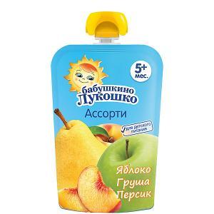 Пюре  яблоко груша персик, с 5 мес, 12 шт х 90 г Бабушкино Лукошко