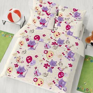 Детское постельное белье 1,5 сп , Кошки и птицы, new Letto. Цвет: фиолетовый