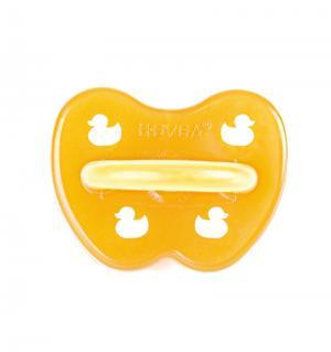 Пустышка  Duck Симметричная каучук, с рождения, цвет: оранжевый Hevea