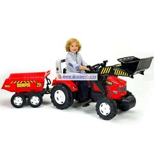 Педальная машина Трактор-экскаватор с прицепом Falk