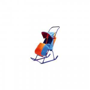 Санки-коляска  1, Galaxy, оранжевый/синий Малышок. Цвет: синий/оранжевый
