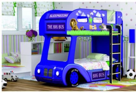 Подростковая кровать  двухъярусная Compact автобус Мадагаскар RR-A100008 Red River