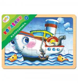 Развивающая игра  из дерева Каруселька Кораблик Step Puzzle