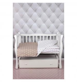 Комплект постельного белья  Baby Boom, цвет: белый/коричневый 3 предмета Amarobaby