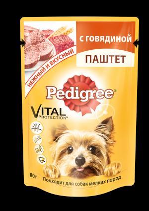 Корм влажный  для взрослых собак, говядина, 80г Pedigree