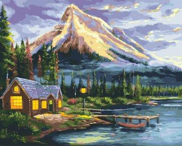Картина по номерам на подрамнике Дом у реки 50х40 см Color Kit