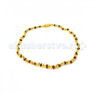 Прорезыватель  Ожерелье из янтаря для малышей Галька теплая солнечная Yanru
