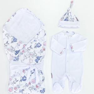 Комплект на выписку  летний (комбинезон, шапочка, плед, лента) Зайчишка СуперМаМкет