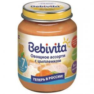 Пюре  овощное ассорти с цыпленком 7 месяцев, 100 г Bebivita
