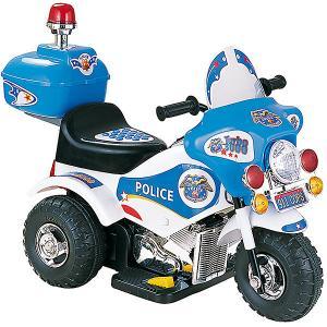 Электромотоцикл  Police с мигалкой, бело-голубой (свет, звук) Bugati