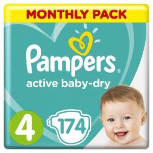 Подгузники Active Baby-Dry р.4 (9-14 кг) 174 шт. Pampers