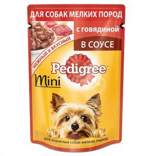 Влажный корм для взрослых собак мелких пород  Mini с говядиной в соусе, 85 гр Pedigree
