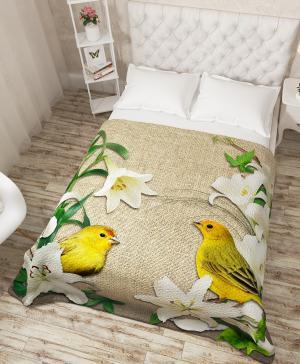Покрывало Желтые птички в лилиях Сирень