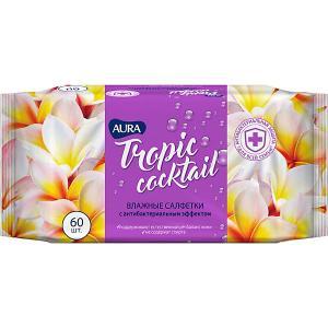 Влажные салфетки AURA Tropic Cocktail антибактериальные, 60 шт Cotton Club