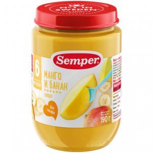 Пюре  манго-банан с 6 месяцев, 190 г Semper