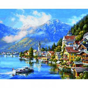 Картина по номерам На озере Халльштатт 40х50 см Schipper