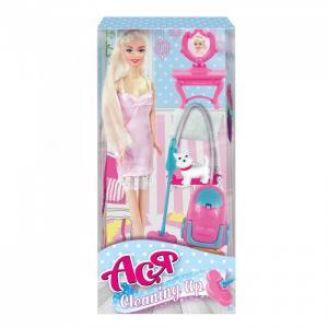 Кукла Ася Блондинка в розовом платье с пылесосом Уборка Toys Lab