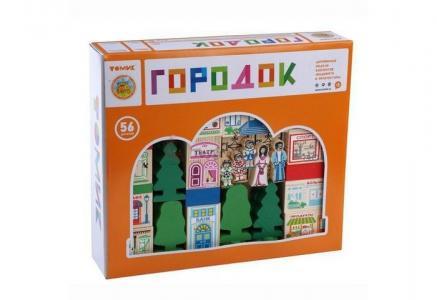 Деревянная игрушка  Конструктор Веселый городок 56 деталей Томик