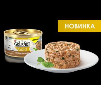 Корм влажный  Gold Нежные биточки для взрослых кошек, индейка/шпинат, 85г Gourmet