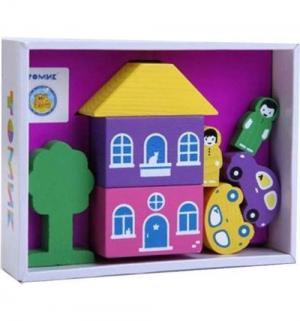 Деревянный конструктор  Цветной городок-2 фиолетовый Томик