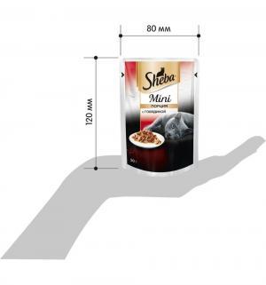 Влажный корм  для взрослых кошек Mini порция, говядина, 50г Sheba