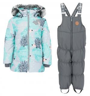 Комплект куртка/полукомбинезон  Novalla, цвет: зеленый/серый Huppa
